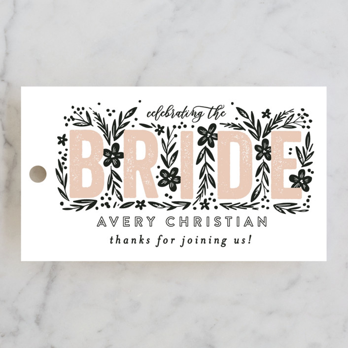 """Bride Florals"" - Bridal Shower Favor Tags in Azalea by Alethea and Ruth."