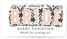 This is a pink gift tag by Alethea and Ruth called Bride Florals with standard printing on signature in tag.