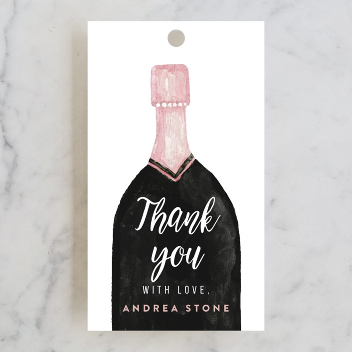 """champagne bottle"" - Bridal Shower Favor Tags in Snow by Cass Loh."