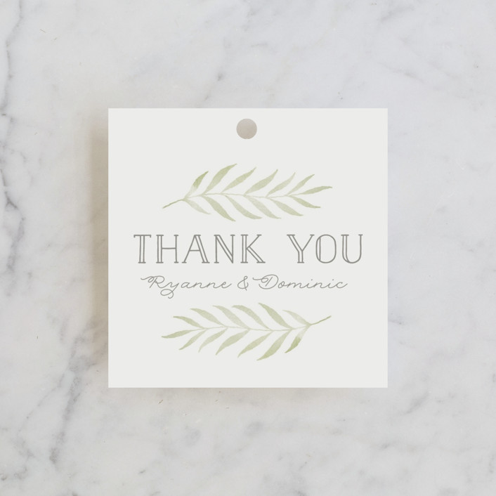 """Chevron Greenery"" - Bridal Shower Favor Tags in Willow by Lorent and Leif."