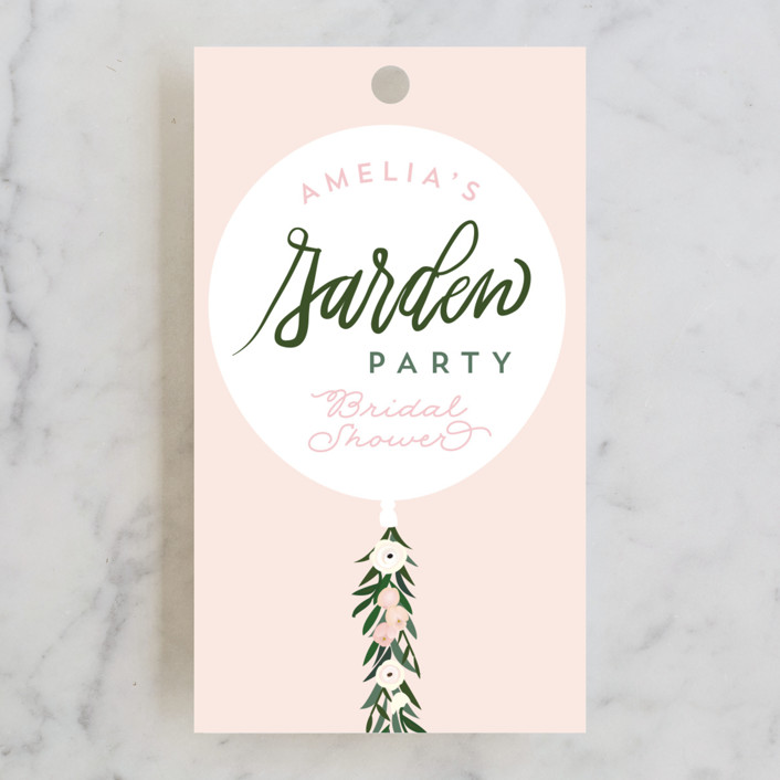 """Garden Balloon"" - Bridal Shower Favor Tags in Blush by Itsy Belle Studio."
