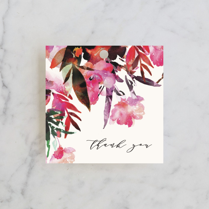"""Tropic Drape"" - Bridal Shower Favor Tags in Fuchsia by Grace Kreinbrink."
