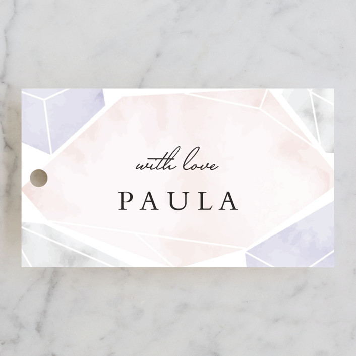 """Modern Gems"" - Bridal Shower Favor Tags in Blush by Petra Kern."
