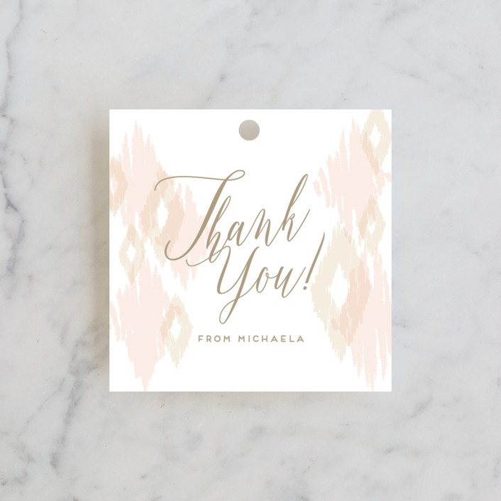 """ikat shimmer"" - Bridal Shower Favor Tags in Peony by shoshin studio."