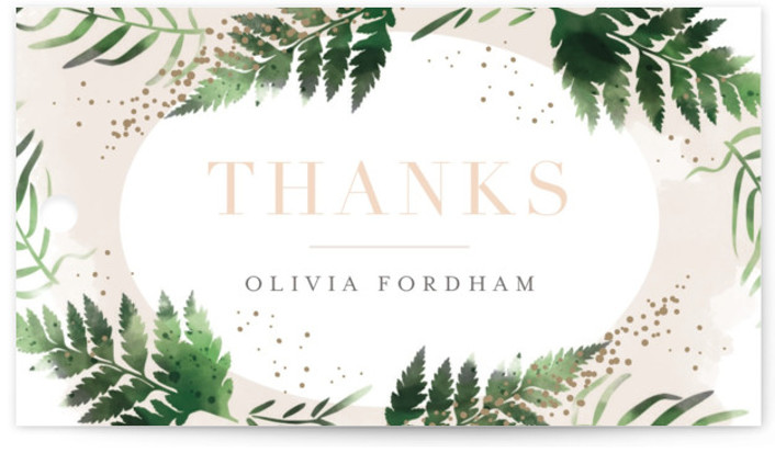 This is a gold, orange Bridal Shower Favor Tags by Kristie Kern called Sparkling Ferns with Standard printing on Signature in Tag Flat Card format. An oval frame of watercolor ferns and rose gold foil surrounds the details of this ...
