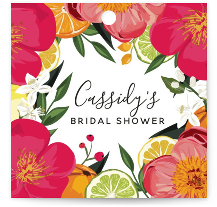This is a colorful, orange Bridal Shower Favor Tags by Susan Moyal called Citrus Brunch with Standard printing on Signature in Tag Flat Card format. This bridal shower invitation features an array of citrus fruits, flowers and greenery.