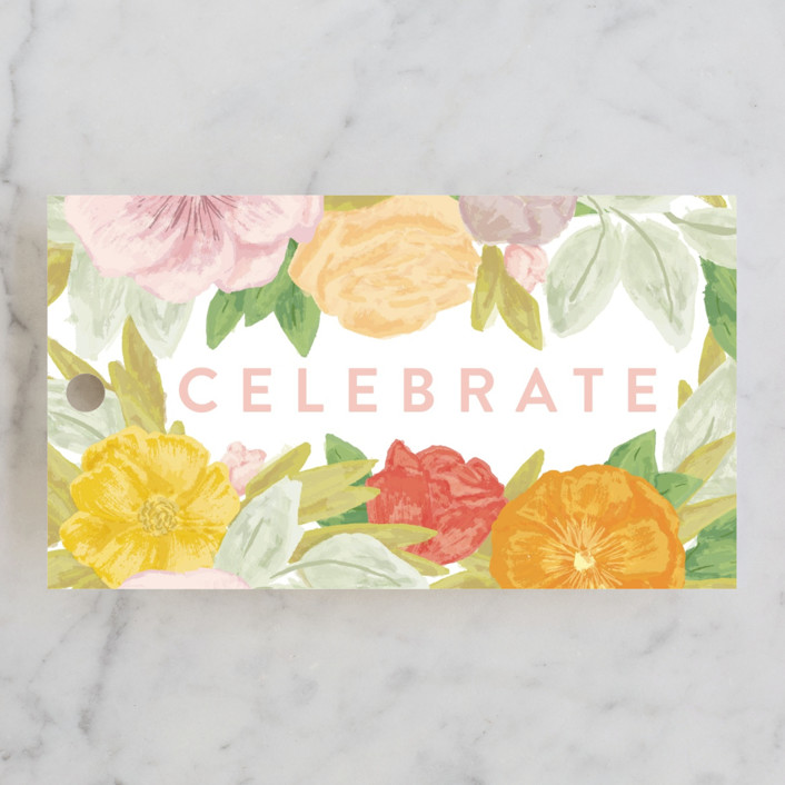 """Floral Bride Banner"" - Bridal Shower Favor Tags in Olive by Shiny Penny Studio."