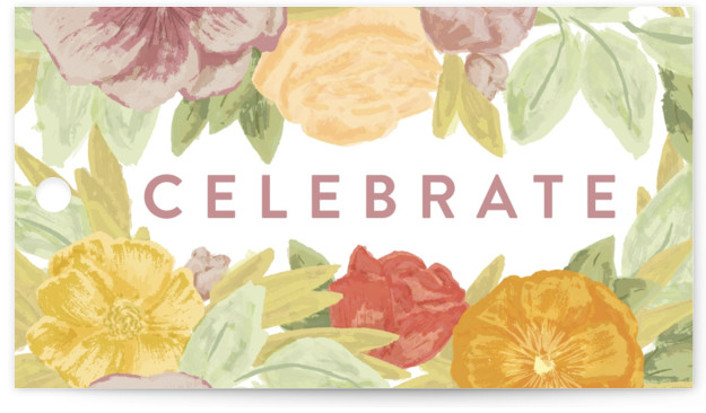 This is a colorful, yellow Bridal Shower Favor Tags by Shiny Penny Studio called Floral Bride Banner with Standard printing on Signature in Tag Flat Card format. This bridal shower invitation features hand painted florals in bright fresh modern colors. ...