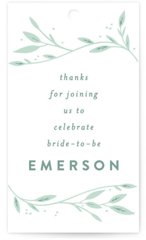 This is a green Bridal Shower Favor Tags by Alethea and Ruth called Leaf Framed Shower with Standard printing on Signature in Tag Flat Card format. This bridal shower invite features hand written lettering and information framed by branches and ...