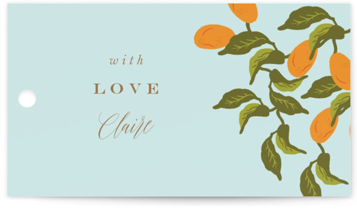 This is a green Bridal Shower Favor Tags by Nazia Hyder called Kumquat with Standard printing on Signature in Tag Flat Card format. This classic piece, inspired by colonial art is perfect for the modern day bride with bright pops ...