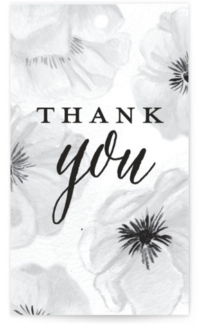 This is a black and white Bridal Shower Favor Tags by Shiny Penny Studio called Ink Plate Floral Frame with Standard printing on Signature in Tag Flat Card format. This bridal shower invitation features hand painted and ink drawn anemone ...