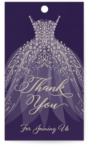 This is a gold, purple Bridal Shower Favor Tags by Paper Sun Studio called floral spray with Standard printing on Signature in Tag Flat Card format. A spray of flowers and raindrops decorates this wedding gown in rose gold and ...