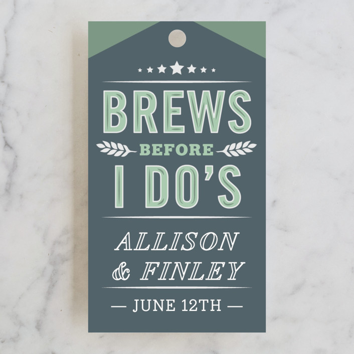 """""""Brewery"""" - Bridal Shower Favor Tags in Limeade by Jennifer Lew."""