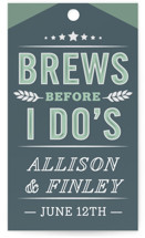 This is a green gift tag by Jennifer Lew called Brewery with standard printing on signature in tag.