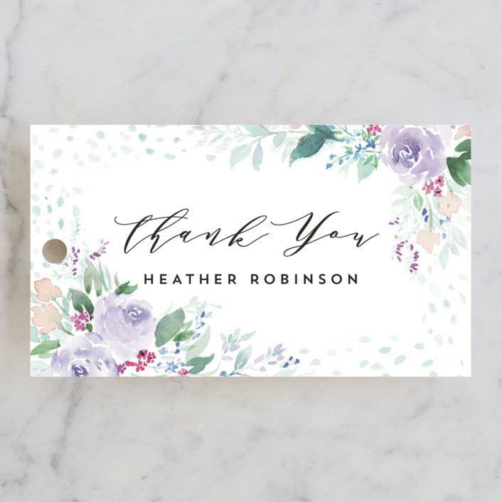 """""""Wild and Beautiful"""" - Bridal Shower Favor Tags in Lilac by Qing Ji."""