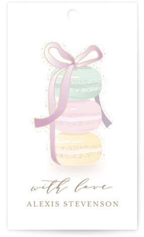 This is a green, colorful Bridal Shower Favor Tags by Ana Sharpe called Sweet Gathering with Standard printing on Signature in Tag Flat Card format. An elegant, yet playful bridal shower invitation featuring hand drawn macarons for a dreamy event. ...