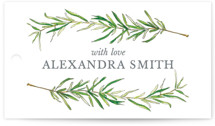 This is a green gift tag by Erin Deegan called Simple Sprigs with standard printing on signature in tag.