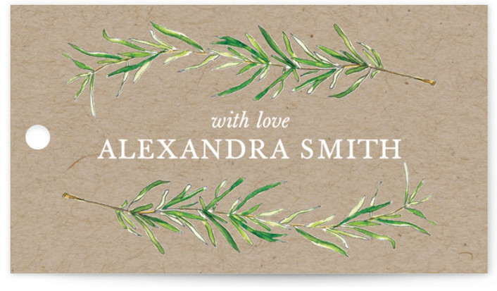 This is a botanical, illustrative, rustic, brown Bridal Shower Favor Tags by Erin Deegan called Simple Sprigs with Standard printing on Signature in Tag Flat Card format. Simple and traditional wedding invitation featuring sprigs of rosemary.