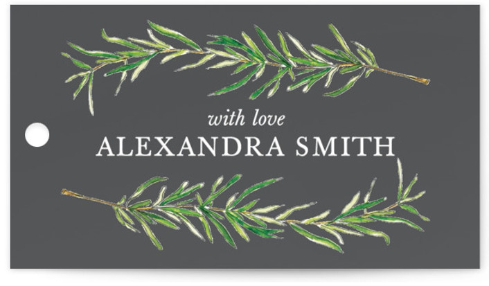 This is a botanical, illustrative, rustic, grey Bridal Shower Favor Tags by Erin Deegan called Simple Sprigs with Standard printing on Signature in Tag Flat Card format. Simple and traditional wedding invitation featuring sprigs of rosemary.