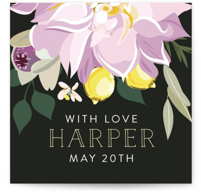 This is a botanical, painterly, black, colorful Bridal Shower Favor Tags by Susan Moyal called Spring Blooms with Standard printing on Signature in Tag Flat Card format. This wedding invitations features some fresh summer blooms with lemons intertwined.