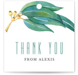 This is a green gift tag by Four Wet Feet Studio called Eucalyptus Leaves with standard printing on signature in tag.