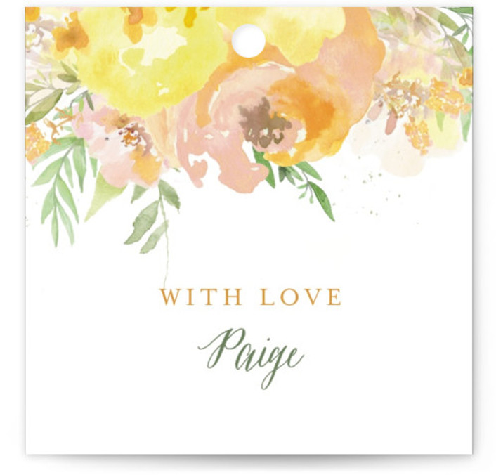 This is a botanical, painterly, green, orange, yellow Bridal Shower Favor Tags by Grace Kreinbrink called Big Blooms with Standard printing on Signature in Tag Flat Card format. Giant, vivid hand painted watercolor blooms frame this wedding invitation.