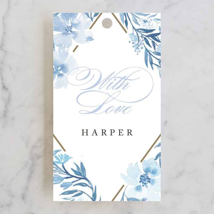 """Poetic Blue"" - Bridal Shower Favor Tags in Sky by Qing Ji."