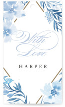 This is a blue gift tag by Qing Ji called Poetic Blue with standard printing on signature in tag.