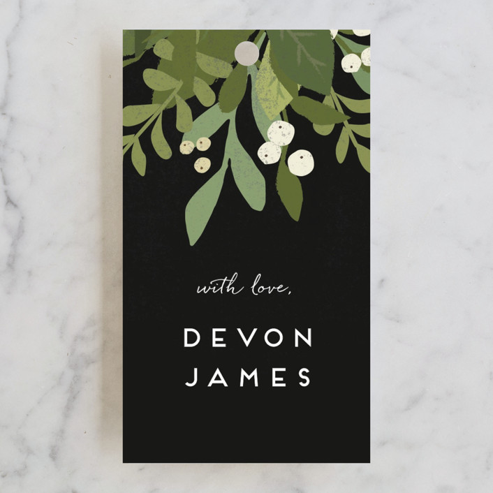 """""""Laurel of Greens"""" - Bridal Shower Favor Tags in Midnight by Jennifer Wick."""