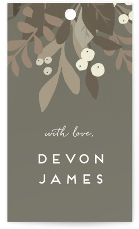 This is a botanical, brown, grey Bridal Shower Favor Tags by Jennifer Wick called Laurel of Greens with Standard printing on Signature in Tag Flat Card format. A composition of greens punctuated with modern white typography. A fresh modern take ...