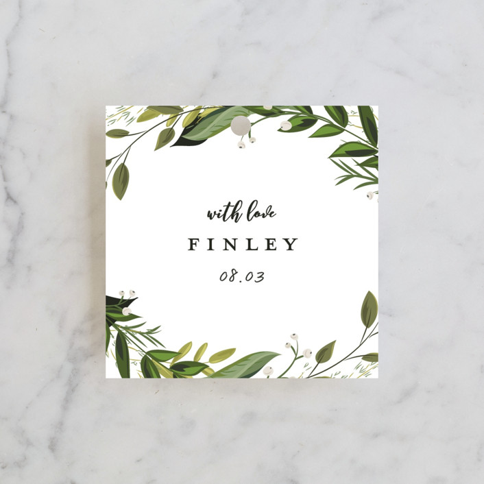 """""""Vines of Green"""" - Bridal Shower Favor Tags in Fern by Susan Moyal."""