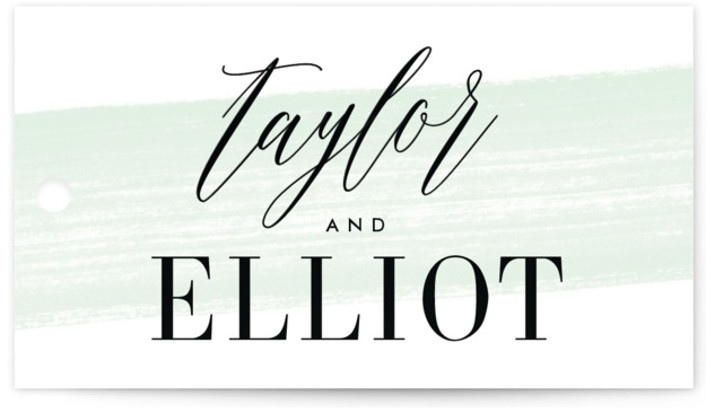 This is a modern, painterly, green Bridal Shower Favor Tags by Kristie Kern called Effervescent with Standard printing on Signature in Tag Flat Card format. A modern and fresh typographic design featuring a light painted swash.