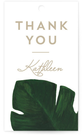 This is a botanical, illustrative, green, white Bridal Shower Favor Tags by Kaydi Bishop called Palm with Standard printing on Signature in Tag Flat Card format. A chic hand painted acrylic palm leaf contrasts the invitation wording on this beach ...