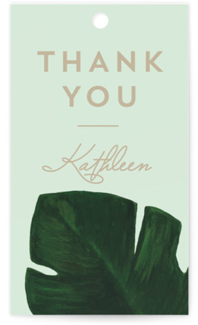 This is a botanical, illustrative, green Bridal Shower Favor Tags by Kaydi Bishop called Palm with Standard printing on Signature in Tag Flat Card format. A chic hand painted acrylic palm leaf contrasts the invitation wording on this beach or ...