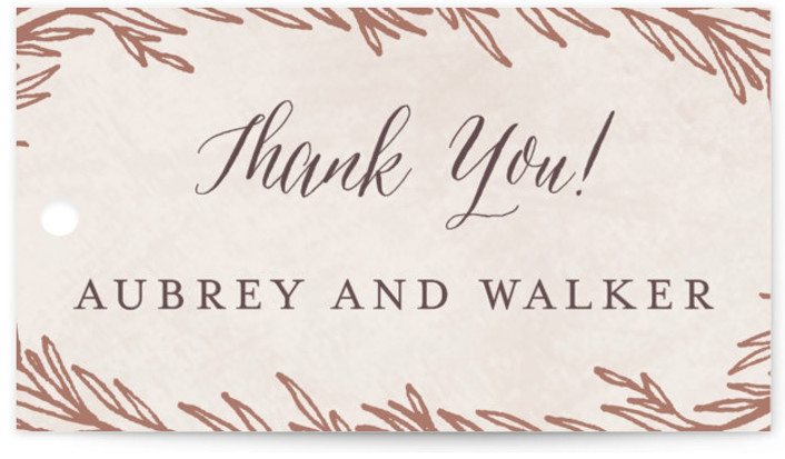 This is a botanical, beige, rosegold Bridal Shower Favor Tags by Grace Kreinbrink called Dipped Laurels with Standard printing on Signature in Tag Flat Card format. Hand drawn laurels in foil delicately frame this wedding invitation.