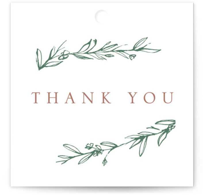 This is a botanical, rustic, simple and minimalist, green, rosegold Bridal Shower Favor Tags by Mere Paper called Metallic Branches with Standard printing on Signature in Tag Flat Card format. Gold foil branches frame this modern invitation.