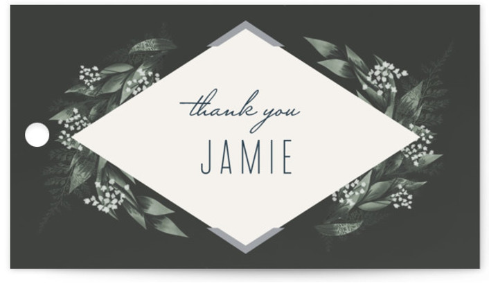 This is a botanical, black, silver Bridal Shower Favor Tags by Leah Bisch called Diamante with Standard printing on Signature in Tag Flat Card format. A modern and elegant save the date with botanical details