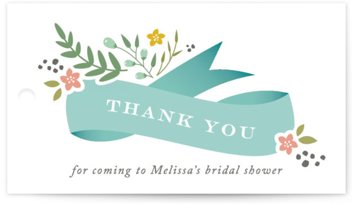 This is a blue Bridal Shower Favor Tags by Jennifer Postorino called Adorned Ribbon with Standard printing on Signature in Tag Flat Card format. This fresh bridal shower invitation features a cascading ribbon and delicate hand drawn florals.