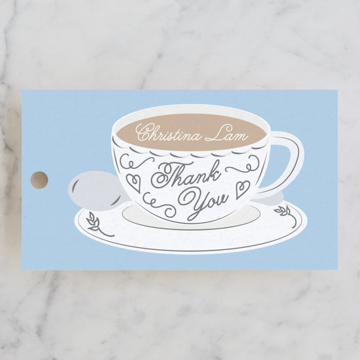 """""""Tea Time"""" - Bridal Shower Favor Tags in Blueberry by Jennifer Lew."""