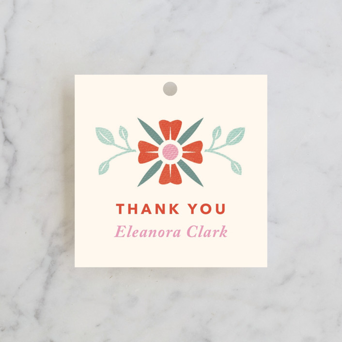 """Vintage Bridal Tea"" - Bridal Shower Favor Tags in Coral by Laura Moyer."