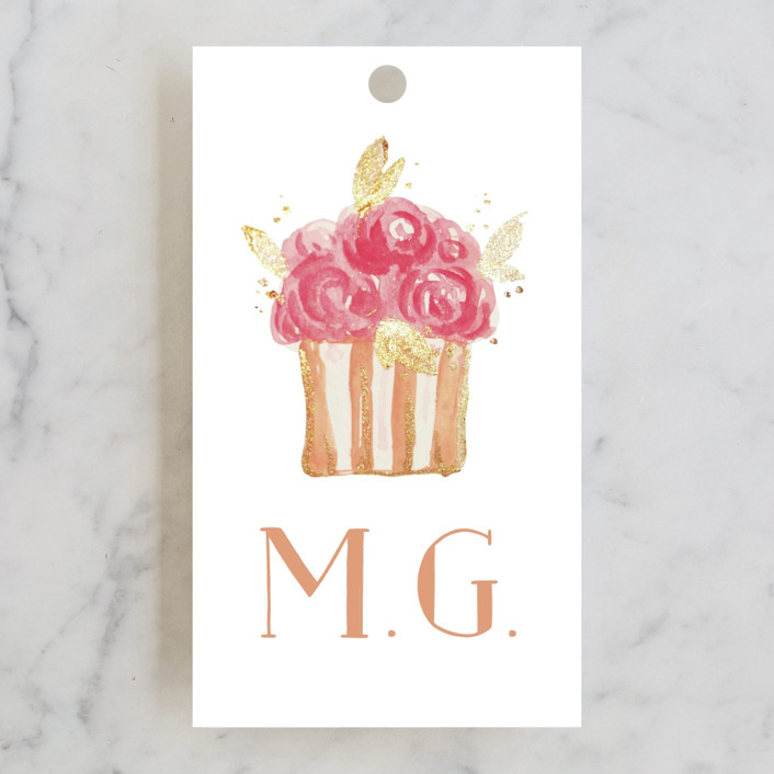 """Princess cake"" - Bridal Shower Favor Tags in Peach by Benita Crandall."