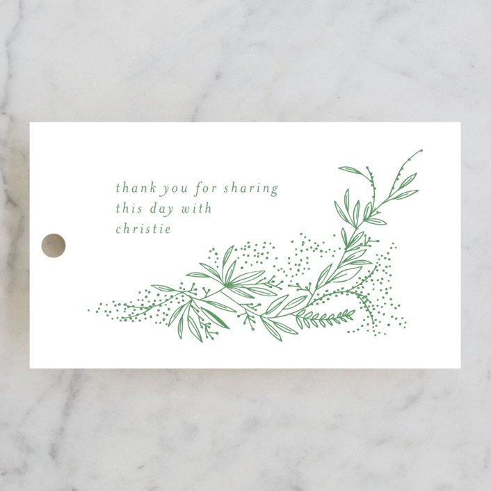 """dainty green bride"" - Bridal Shower Favor Tags in Fresh by Phrosne Ras."