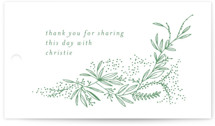 This is a green gift tag by Phrosne Ras called dainty green bride with standard printing on signature in tag.