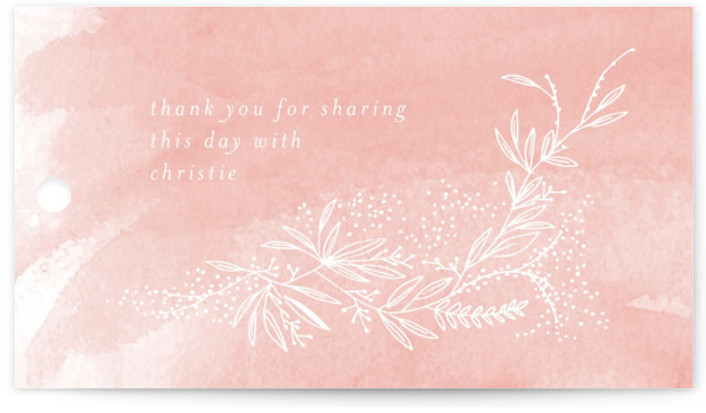 This is a pink Bridal Shower Favor Tags by Phrosne Ras called dainty green bride with Standard printing on Signature in Tag Flat Card format. A hand drawn illustration with dainty green detail framing a stylish typographical design.