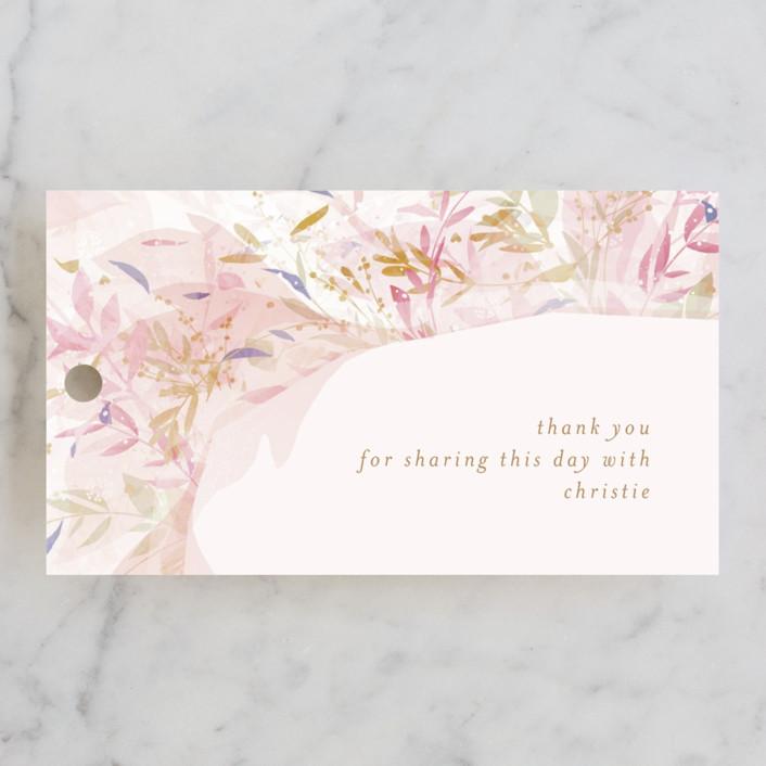 """Fantasy Floral Bride"" - Bridal Shower Favor Tags in Blush by Phrosne Ras."