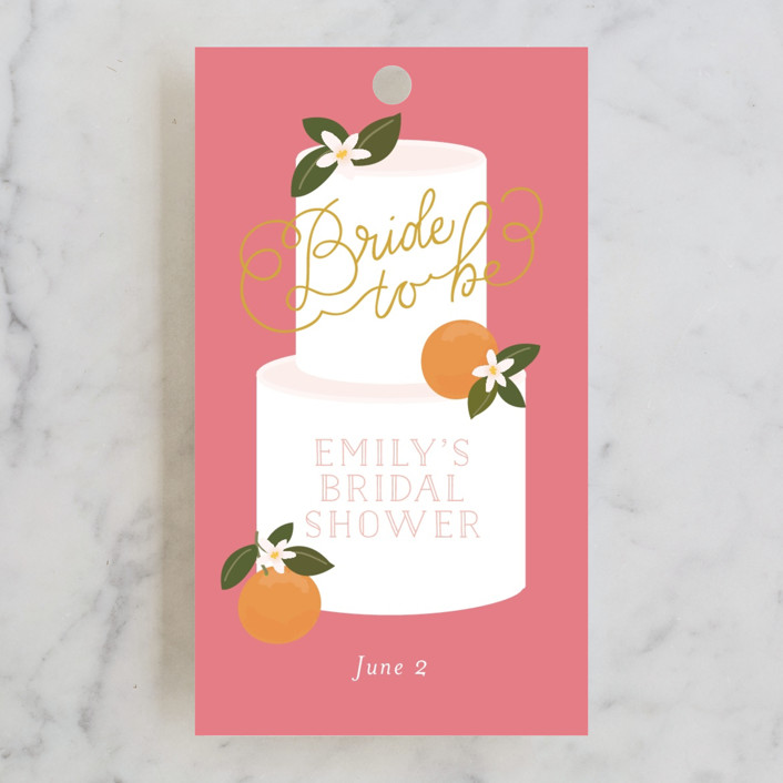 """Citrus and  Cake"" - Bridal Shower Favor Tags in Coral by Itsy Belle Studio."