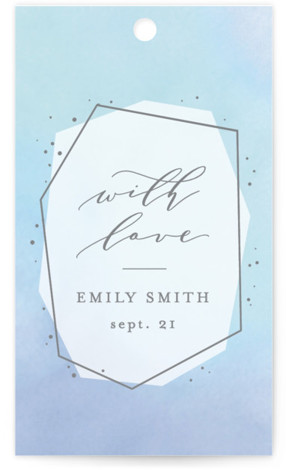 This is a blue Bridal Shower Favor Tags by Ana Sharpe called Luminous Jewel with Standard printing on Signature in Tag Flat Card format. This modern and elegant rehearsal dinner invitation features luminous watercolor mixing background and natural gemstone shapes. ...