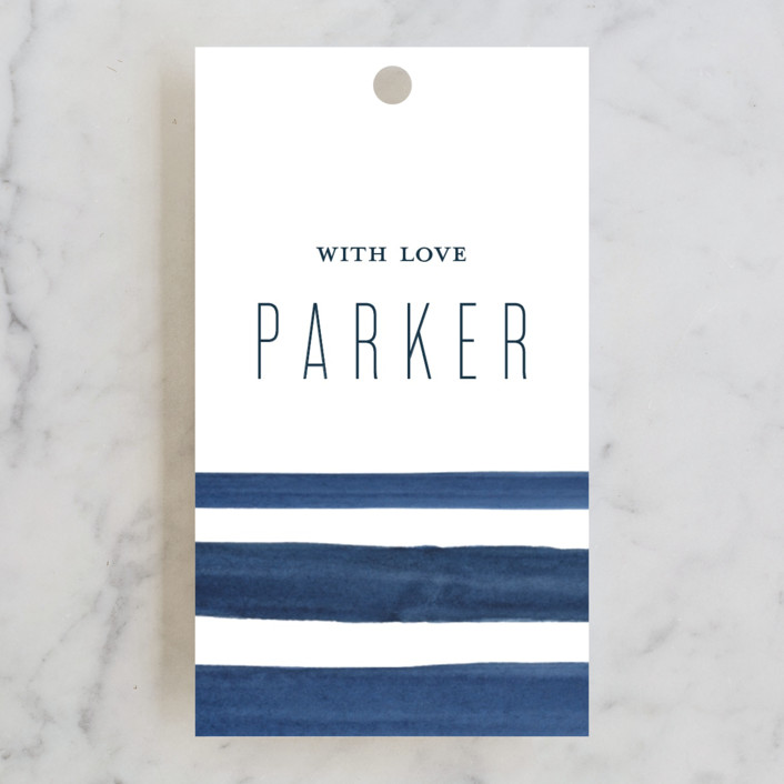 """Navy Chic"" - Bridal Shower Favor Tags in Navy by Petra Kern."