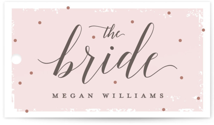 This is a pink Bridal Shower Favor Tags by Michelle Taylor called Emerald Cut with Standard printing on Signature in Tag Flat Card format. This bridal shower invitation features a bold foil pressed diamond art framing elegant typography.