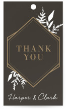 This is a black gift tag by Robin Ott called Shade Garden with standard printing on signature in tag.